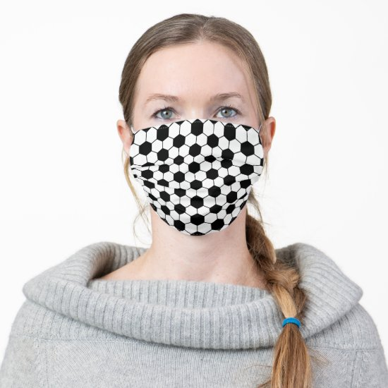 Black and White Soccer Ball Pattern Adult Cloth Face Mask