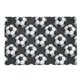 Black and White Soccer Ball Pattern Placemat