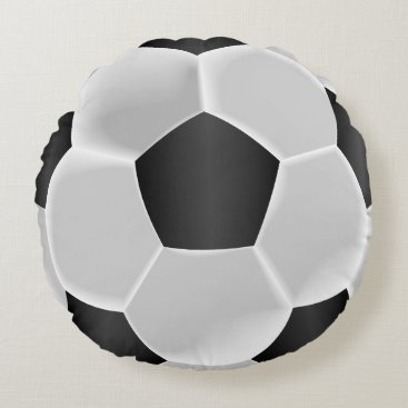 USA Themed Black and White Soccer Ball Round Pillow