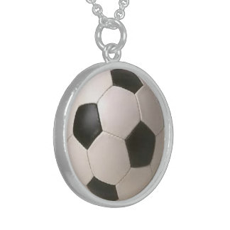 Black and White Soccer Ball Sterling Necklace