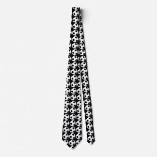 Black and White Soccer Balls on Black Tie