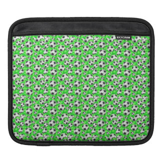 Black and White Soccer Balls on Green iPad Sleeve