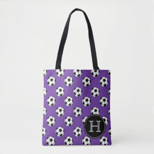 Black And White Soccer Balls On Purple Monogram Tote Bag