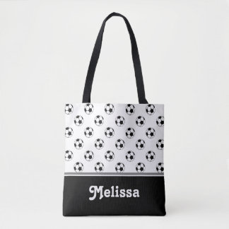 Black and White Soccer Balls | Personalized Tote Bag