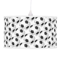 Black and White Soccer Decor Man Cave Modern Ceiling Lamp