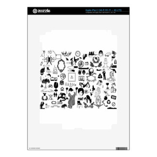 Black and white social icons design decals for iPad 3