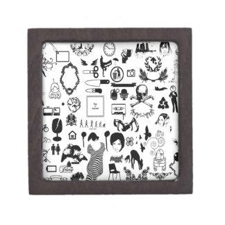 Black and white social icons design gift box