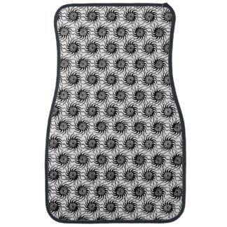 Black and White Solar Sun Pattern Floor Mat