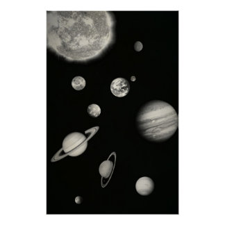 Black and White Solar System in the space Print
