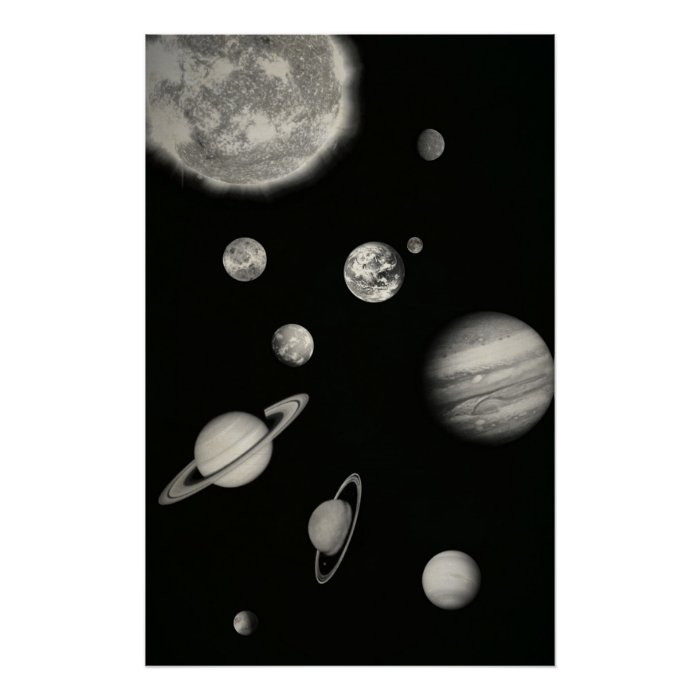 Black and White Solar System in the space Poster | Zazzle