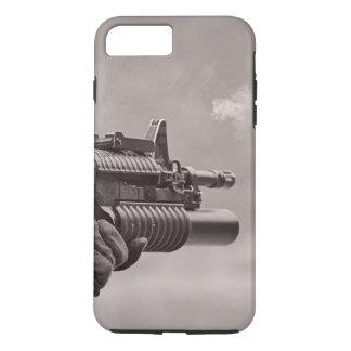 Black and White Soldier Sub Machine Gun Masculine iPhone 7 Plus Case