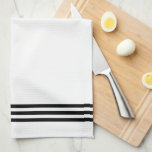 "Black and White Sophisticated Stripes and Monogram Kitchen Towel<br><div class=""desc"">This simple,  elegant kitchen towel will add a personalized touch of style to your kitchen!</div>"