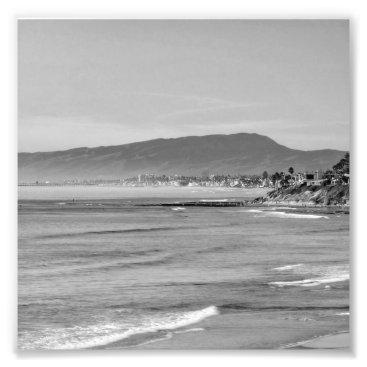 Beach Themed Black and White South Carlsbad beach Photo Print