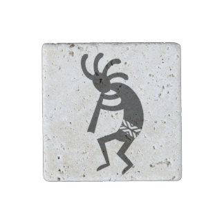 Black And White Southwest Design Kokopelli Stone Magnet