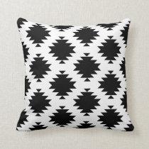 Black and White Southwest Diamond Motif Throw Pillow