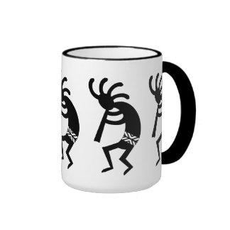 Black And White Southwest Kokopelli Ringer Coffee Mug