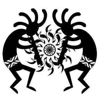 Black And White Southwest Kokopelli Tribal Sun Statuette