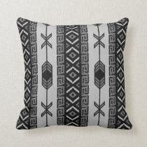 Black And White  Southwest Tribal Aztec Pattern Throw Pillow