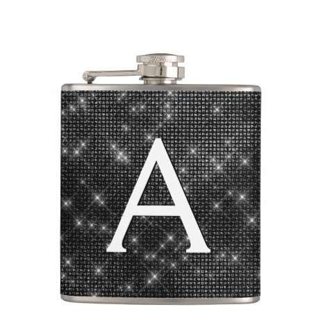 Black and White Sparkle Monogram & Initial Flask
