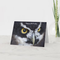 Black and White Specacled Owl Birthday Cards
