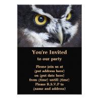 Black and White Specacled Owl Custom Invitations