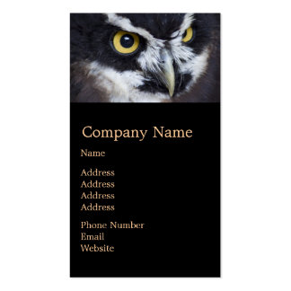 Black and White Specacled Owl Double-Sided Standard Business Cards (Pack Of 100)