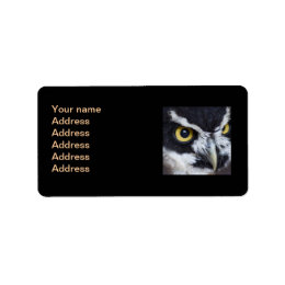 Black and White Specacled Owl Label