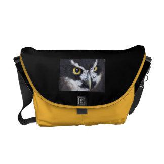 Black and White Specacled Owl Messenger Bag