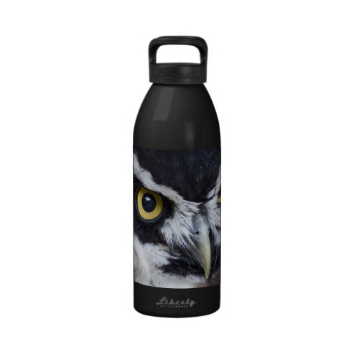 Black and White Specacled Owl Reusable Water Bottle