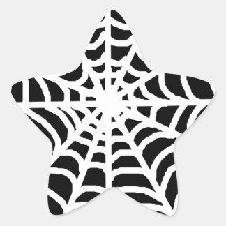 Black and white spider web star sticker