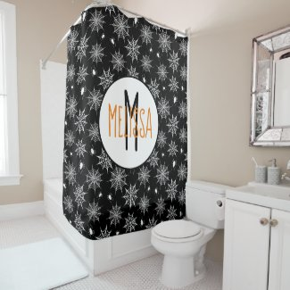 Black and White Spiders Cobwebs Monogram Halloween Shower Curtain