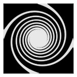 Black and White Spiral Design. Posters