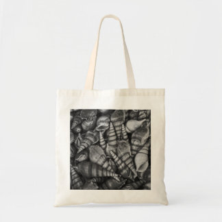 Black and White Spiral Seashells Photo Canvas Bags