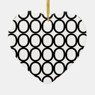 Black and White Splash of O's Ceramic Ornament