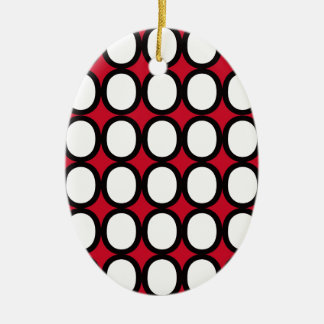 Black and White Splash of O's With Red Ceramic Ornament