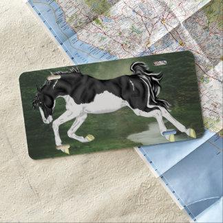 Black and White Splash Overo Paint Horse License Plate