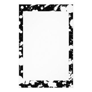 Black and White Splatter Paint Art Stationery
