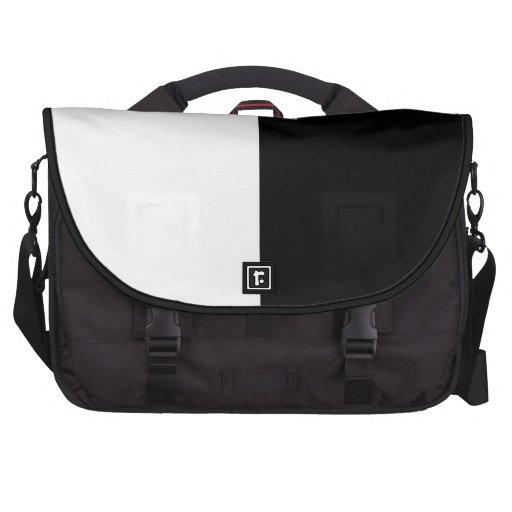 Black and White Split Color Laptop Messenger Bag