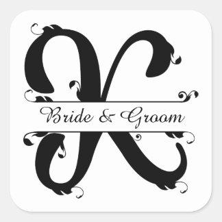 Black and White Split Letter K Monogram Square Sticker