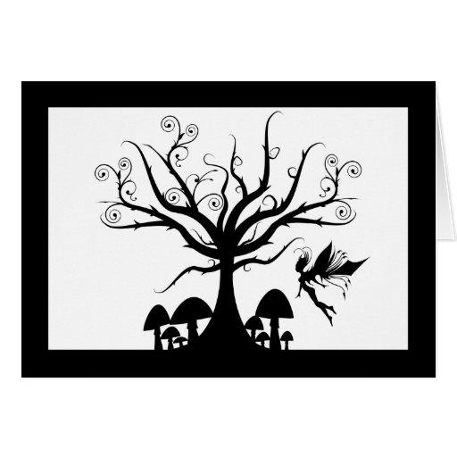 Black and white spooky fairy birthday card zazzle