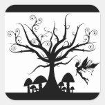 Black and White Spooky Fairy Square Sticker
