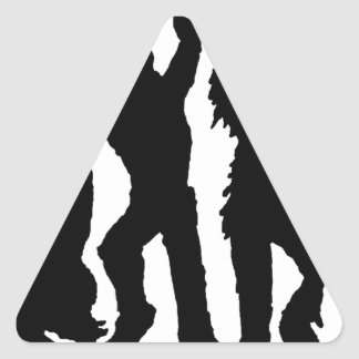 Black and White Spooky Halloween Figures Triangle Sticker