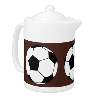 Black and White Sports Soccer Balls, Brown Teapot