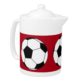 Black and White Sports Soccer Balls, Dark Red Teapot