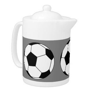 Black and White Sports Soccer Balls, Medium Gray Teapot