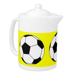 Black and White Sports Soccer Balls, Yellow Teapot