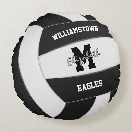 black and white sports team colors volleyball round pillow