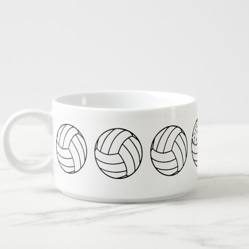 Black and White Sports Volleyball Balls, White Bowl