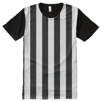 Black and White Sporty Referee Striped All-Over-Print Shirt