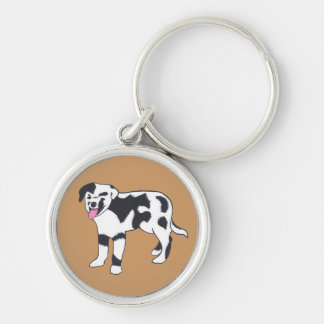 Black and White Spotted Dog Keychains